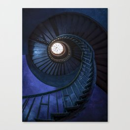 Abandoned blue spiral staircase Canvas Print