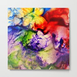 Abstract Encaustic Colorful Flowers, Metal Print