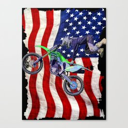 High Flying Freestyle Motocross Rider & US Flag Canvas Print