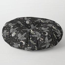 watercolor crow Floor Pillow