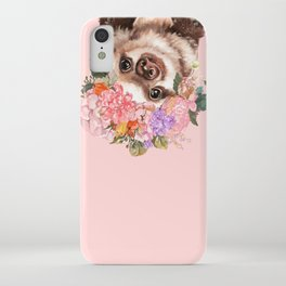 Baby Sloth with Flowers Crown in Pink iPhone Case
