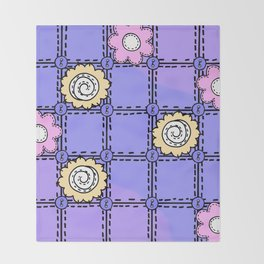 Retro Vintage Style Doodle Quilt - Lavender and Pink Throw Blanket