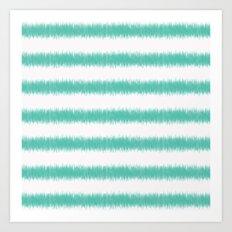 Ikat Stripe Sea Green Art Print