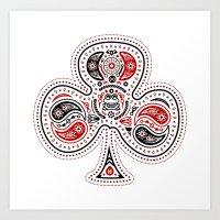 83 Drops - Clubs (Red & Black) Art Print