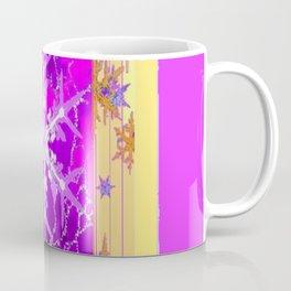 Fuchsia Purple Cream color Snowflake Fantasy Art Coffee Mug