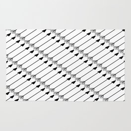 Tribal Art Arrows, Black and White Pattern Rug