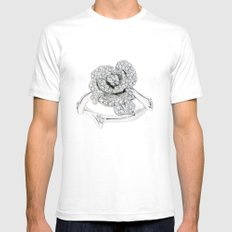 Silver Rose Ring Mens Fitted Tee White SMALL