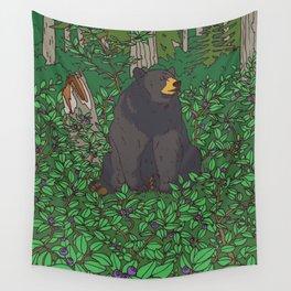 Black Bear & Huckleberry Wall Tapestry