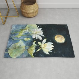 After Sunset, Blood Moon and Lotus Art Print Rug