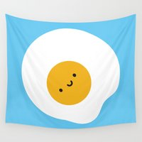 marceline Wall Tapestries featuring Kawaii Fried Egg by Marceline Smith