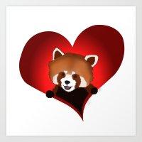 Red panda heart Art Print