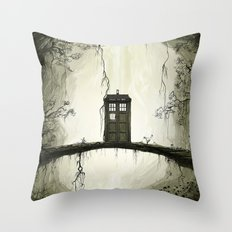 Tardis in the forest Throw Pillow