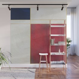 Blue, Red And White With Golden Lines Abstract Painting Wall Mural