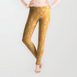Orange Floral Pattern Leggings