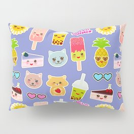 Hello Summer Pineapple, cherry smoothie cup, ice cream, sun, cat, cake, hamster. Kawaii cute face. Pillow Sham