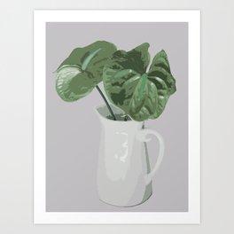 Anthurium in Vase - Green Art Print