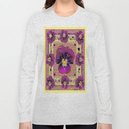 Purple & Yellow Pansy Graphic Art Design Long Sleeve T-shirt