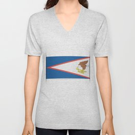 Flag of American Samoa. The slit in the paper with shadows.  Unisex V-Neck