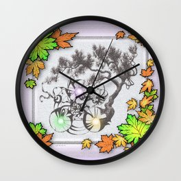 DRAGON BONSAI PINE DRAWING AND DIGITAL AUTUMN LEAVES Wall Clock