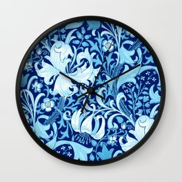 William Morris Iris and Lily, Indigo Blue and White Wall Clock