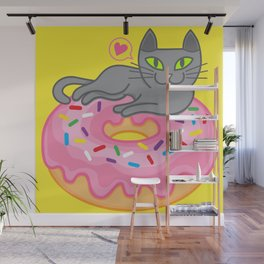 My cat loves donuts. Meow!!! Wall Mural