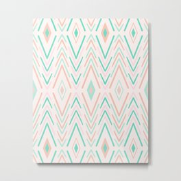 Blush and Mint Tribal Diamond Pattern Metal Print