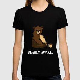 bear coffee caffeine late riser tired joke design T-shirt