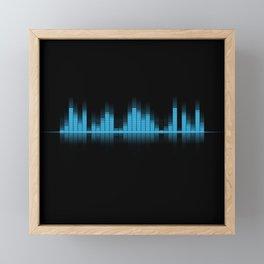 Cool Blue Graphic Equalizer Music on black Framed Mini Art Print
