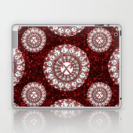 Red Glitter and Sparkling Candy Cane Mandala Textile Laptop & iPad Skin