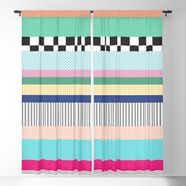 Stripes Mixed Print and Pattern with Color blocking Blackout Curtain