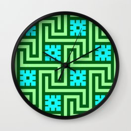 Deco Greek Key, Turquoise and Jade Green Wall Clock