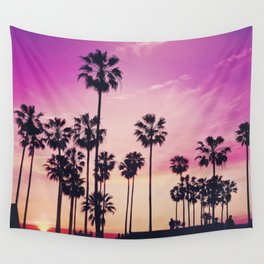 Sunset Palms Purple Tropical Sky Wall Tapestry
