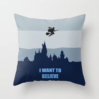 i want to believe Throw Pillows featuring I Want To Believe by aleha