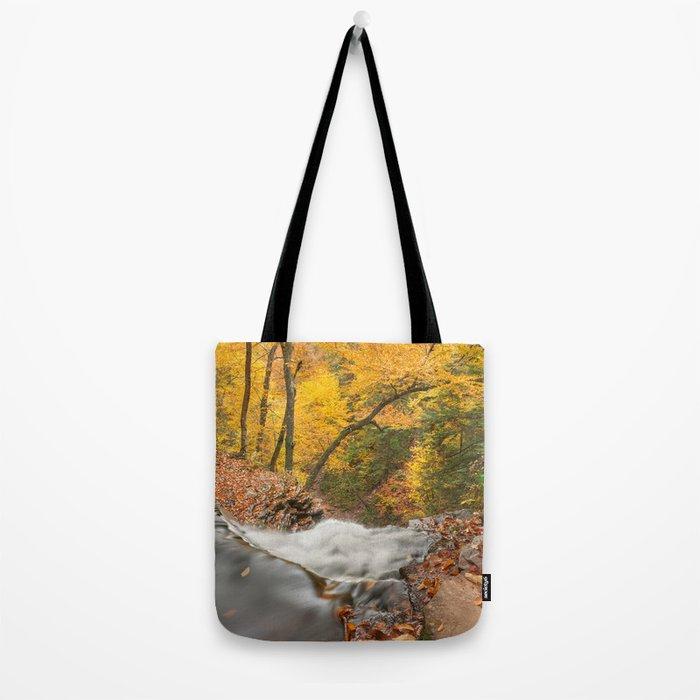 Autumn Waterfall Precipice Tote Bag