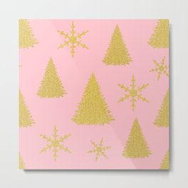 Pink and Gold Christmas Tree Pattern Metal Print