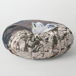 Lonely church in Greek mountains Floor Pillow