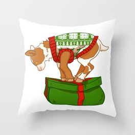 Pink and Brown Christmas Sweater Goat Throw Pillow