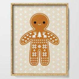 SWEATER PATTERN GINGERBREAD COOKIE Serving Tray