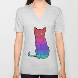 Graffiti Cat Unisex V-Neck