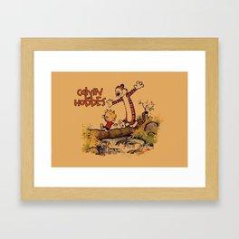 Calvin Hobbes Running Framed Art Print
