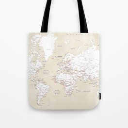 "Cream, white, red and navy blue world map, ""Deuce"" Tote Bag"