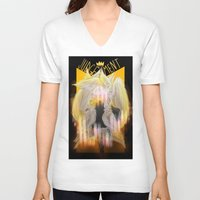 tarot V-neck T-shirts featuring Judgement Tarot by Jess Clapper
