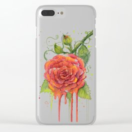 Red Rose Dripping Watercolor Flower Clear iPhone Case