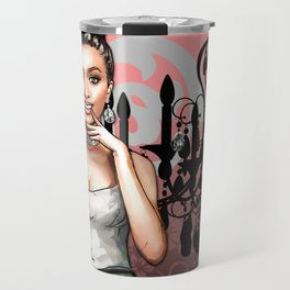 Retro Pinup Girl & Chandelier Floral Damask Travel Mug