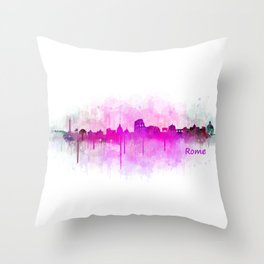 Rome city skyline HQ v05 pink Throw Pillow