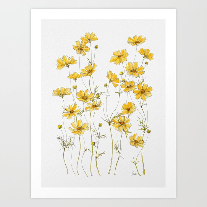 yellow flowers cosmos prints stickers society6 posters sticker flower wall aesthetic poster redbubble illustration printable artwork watercolor framed designs s6