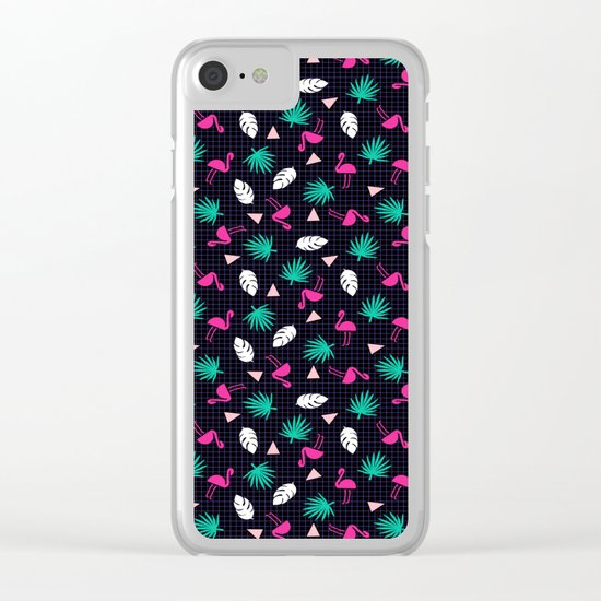 The Dillio - palm springs memphis throwback grid pattern flamingo tropical chilled vibes Clear iPhone Case