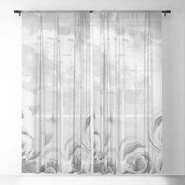 Fading Roses Silver Lining Sheer Curtain