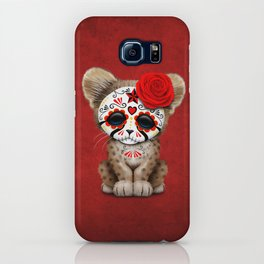 Red Day of the Dead Sugar Skull Cheetah Cub iPhone Case
