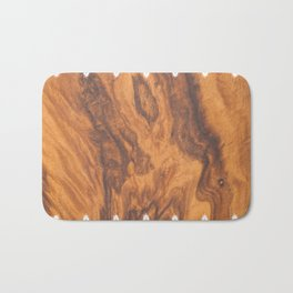 Brown Faux Wood& White Vintage Lace Bath Mat